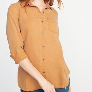OLD NAVY relaxed tencel in tobacco leaf top AX10